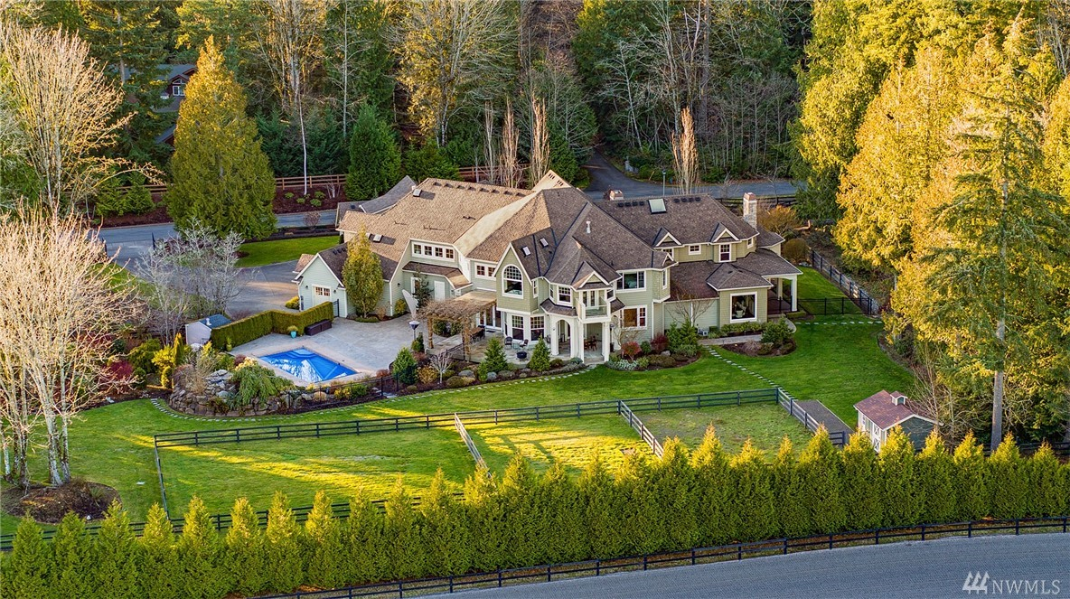 Tranquil custom 7,640 sqft gated estate on 3.4 acres. Fabulous views of snowcapped mountains & Pegasus (100 acre equestrian facility). Expansive and open with timbered & box beam ceilings & walnut floors. Chef's kitchen, stunning entry w/ grand open staircase, ensuite BR's, 4 car garage, huge media room & $500K in audio/video! Manicured setting incls a beautiful in-ground pool, amazing water features, pastures & nature trails. This Magnificent offering will appeal to the most discerning buyer!