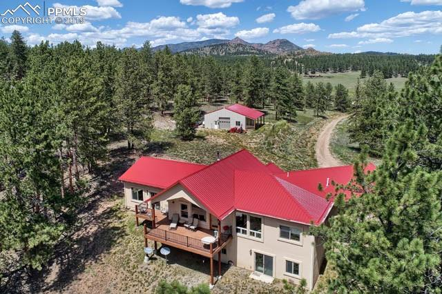 Located in the Tarryall River Valley ~ 48+/- Acres Bordering Pikes National Forest ~ Direct Access to NF Lands - Ride / Hike for Miles ~ Open & Bright Home w/ Custom Construction & Functional Design ~ (2) BR each w/ Private Bath ~ Main Level Office or 3rd BR ~  Unfinished Basement w/ Rough In for Add'l Bath & Kitchen, 3rd BR & Family Rm ~ Equestrian Friendly ~ Fenced, Cross Fenced, Gated  ~ Workshop/Pole Barn Ready for Stalls ~ Access from Paved CR ~ Only 5 Miles to Lake George
