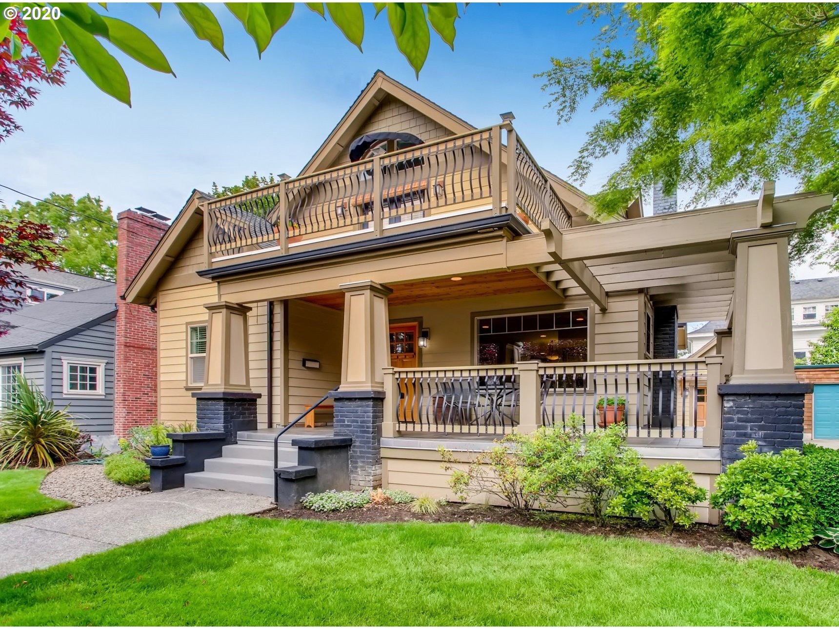 Gorgeous Craftsman Bungalow w/large, wrap-around porch in sought-after Eastmoreland. Extensively remodeled in 2006 w/updated open floorpan, systems (most) & quality finishes w/period charm. Enviable, private master suite w/vaulted ceiling, sitting room, huge walk-in closet, dreamy bath & French doors to expansive balcony. 2 roomy main flr BRs-1 w/walk-in closet. Lower 4BR en suite may or may not be conforming (now a FR). Beautiful wood floors grace 2 floors. Near Golf & playground. [Home Energy Score = 5. HES Report at https://rpt.greenbuildingregistry.com/hes/OR10183853]