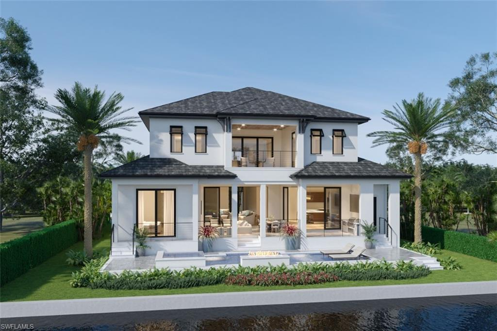 Gorgeous BRAND NEW CONSTRUCTION on a coveted SOUTH FACING waterfront lot in Conners/Vanderbilt Beach! This stunning home TO BE BUILT by renowned local builder Divco Custom Homes has an open floor plan, 4 Bedrooms plus den/office, 4 full and 2 half Baths, 5582 Total SF, 4108 under air. Airy 12 ft ceilings on the main floor with 10 ft pocketing sliders open to a generous lanai with outdoor kitchen, fireplace and concealed roll down screens. Just a few steps down to the pool w/fire feature, spa, sun shelf and outdoor shower. The indoor/outdoor living flows fluidly from Great room, Dining room, Kitchen, and Lanai.   Gourmet kitchen with Wolf/SubZero appliances, walk-in pantry, custom frameless cabinetry, Quartz counters, beverage cooler and wine cooler.  The spacious 1st floor Master Bedroom has a private balcony just a few steps down to the pool, His and Hers walk-in closets, laundry. Luxurious Master Bath w/separate his and hers toilet closets, oversized doorless shower with multiple showerheads, soaking tub. The second floor is a guest's dream with 10 ft ceilings, 3 additional ensuite bedrooms, lounge area with juice/coffee bar, balcony, and a second laundry room. Elevator. New seawall, dock allowance. 2 car garage. Boat out to the gulf from your backyard.   This house is perfect! Live the boating and beach life in luxury in this brand new home to be completed by early 2023, possibly late 2022.