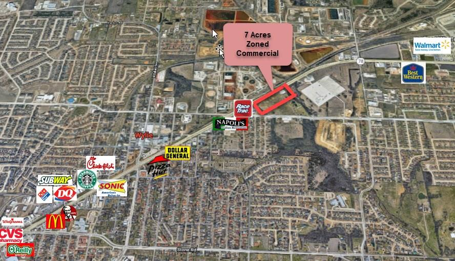 High Traffic area, with six lanes of commercial frontage on State Highway 78. 7.31 Acres with 350 foot depth Ag zoned and CC Commercial Corridor zoning. Could be purchased with larger acreage on Brown St.