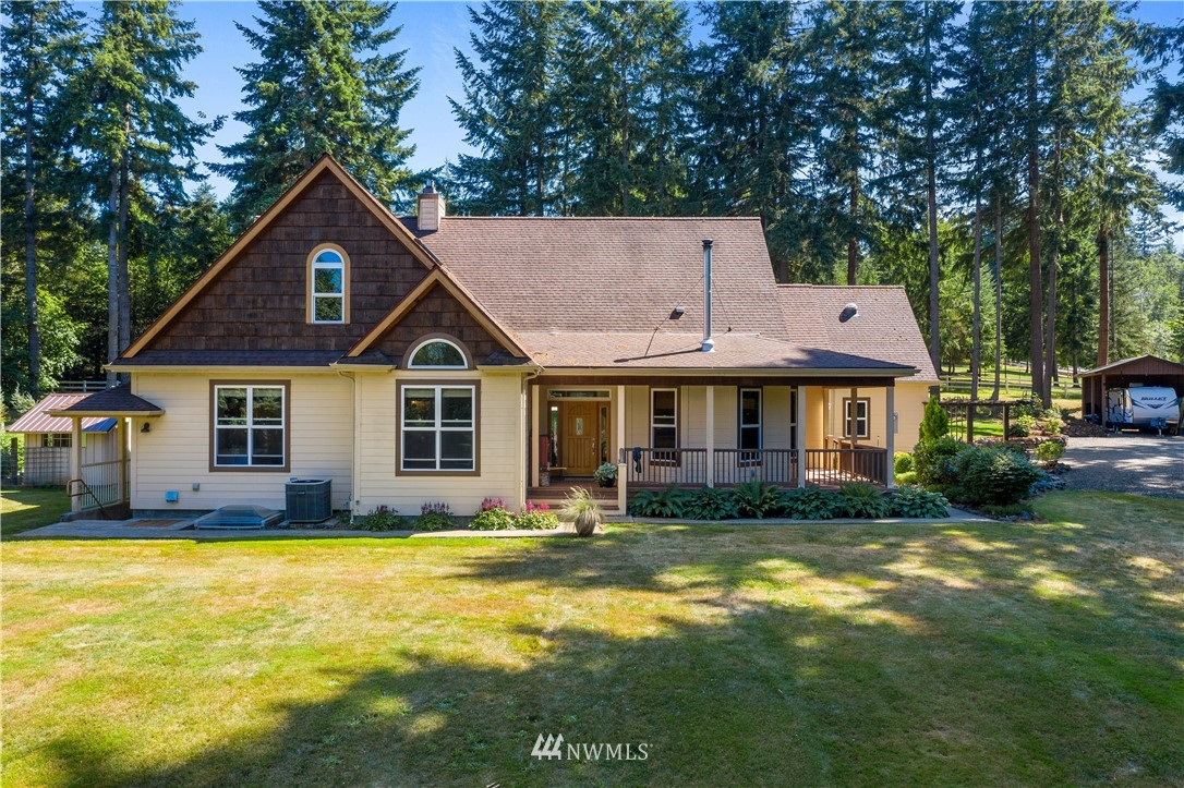 Welcome to this stunning, one-level home situated on a private 2.5 acres in a beautiful park-like setting; an escape from the hustle and bustle of the city, yet conveniently located just a few short minutes from I-5 for easy commuting to Olympia, JBLM, and Portland! Along with incredible craftsmanship and custom features throughout, the home has three (3) spacious bedrooms, an office, a school (or craft/quilt) room, a finished loft, bonus room, as well as vaulted ceilings, built-ins, and a large basement that's ideal for a workshop, workout room or generous storage room. The backyard features lush, mature landscaping with plenty of room to roam about and entertain; there's a concrete patio, hot tub, and ample space for gardening and more!