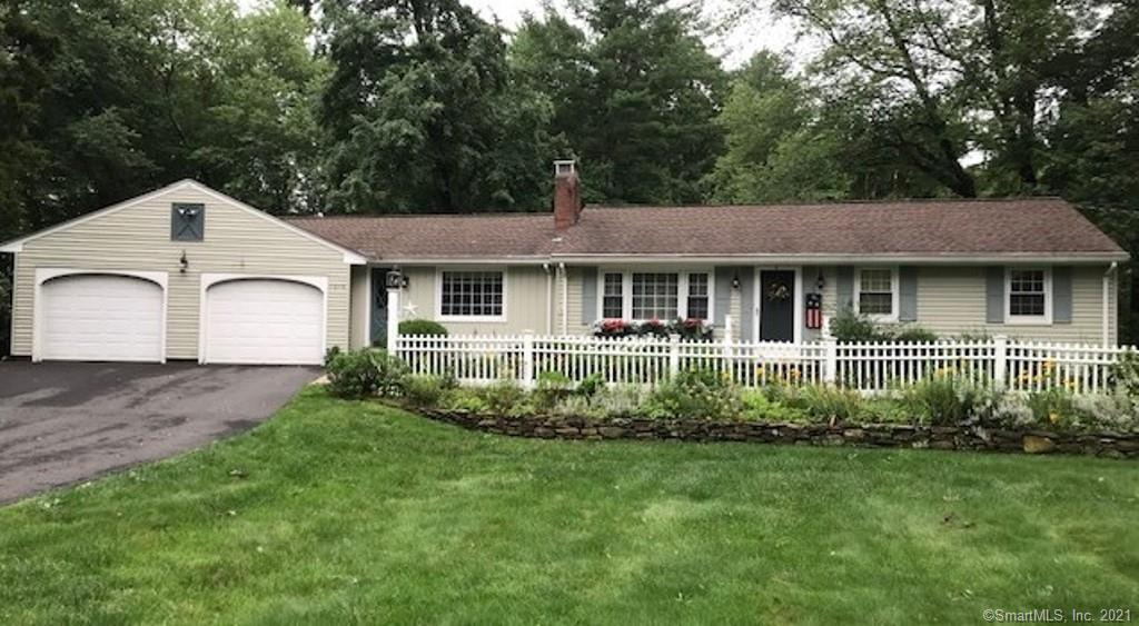 Hard to find remarkable ranch in South Windsor with 3 bedrooms & 2 full updated baths. This lovely home offers hardwood floors, thermal windows, newer roof and oil tank. The formal living room has custom built-ins and fireplace, a huge country kitchen with plenty of cabinet space,  center island  & plenty of room for dining table and your favorite chairs to relax and watch TV - great open floor plan. Enjoy a huge sunroom off the kitchen year round with propane heater, windows all around to see the lovely flower gardens and inground pool and pool house on .72 private yard. The basement is finished with closets and plenty of storage. Two car attached garage and so much more...