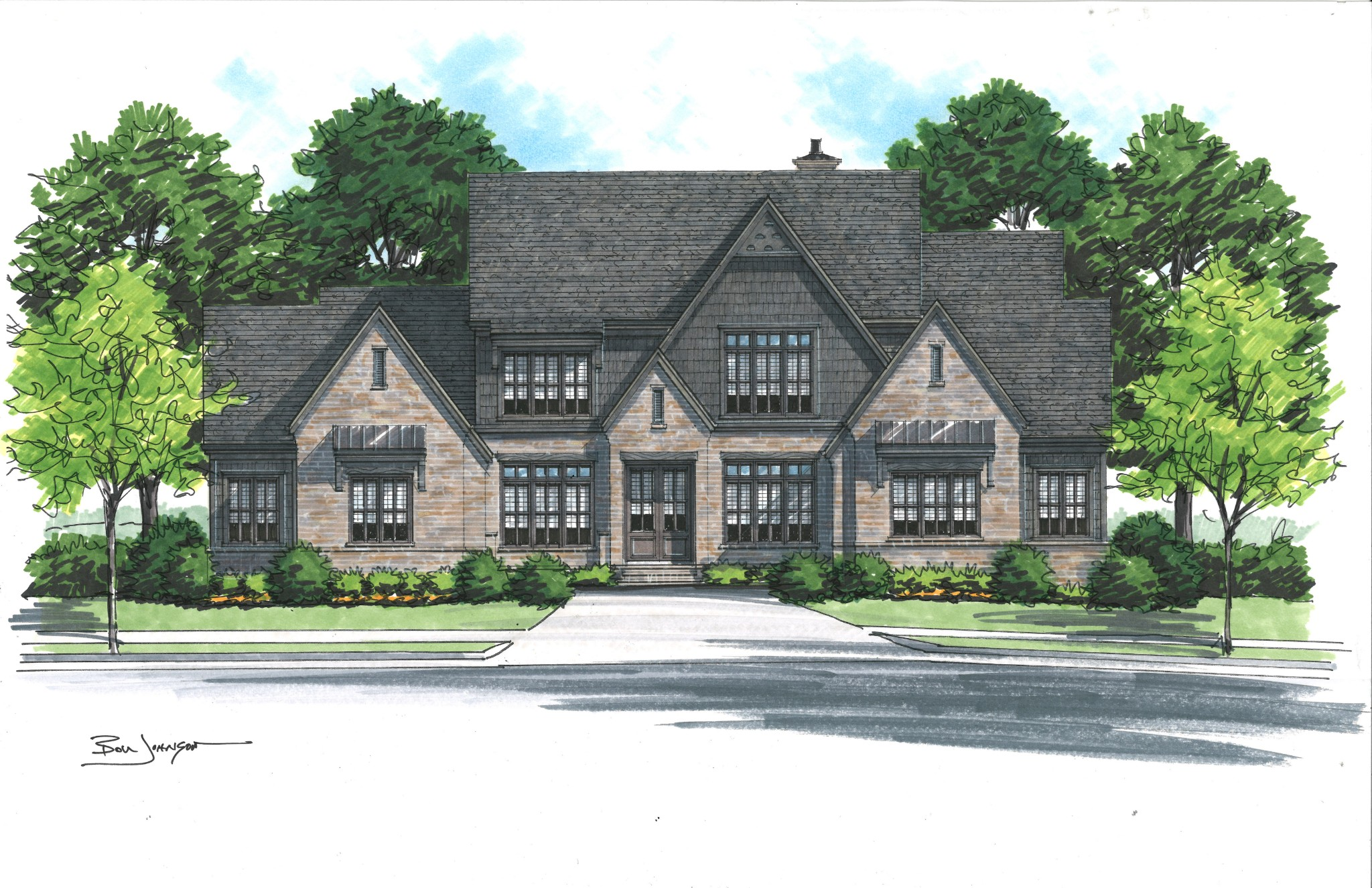 """Legend Homes Stunner includes carriage-front garage court, natural brick with dark siding accents and Contemporary Tudor finishes throughout! Updated interiors surround your family with the latest quartz tops, Wolf appliance package, bar service, MBR on the main and extended covered Loggia overlooking private open space and forests! Now underway for summer 2021 completion!"""""""
