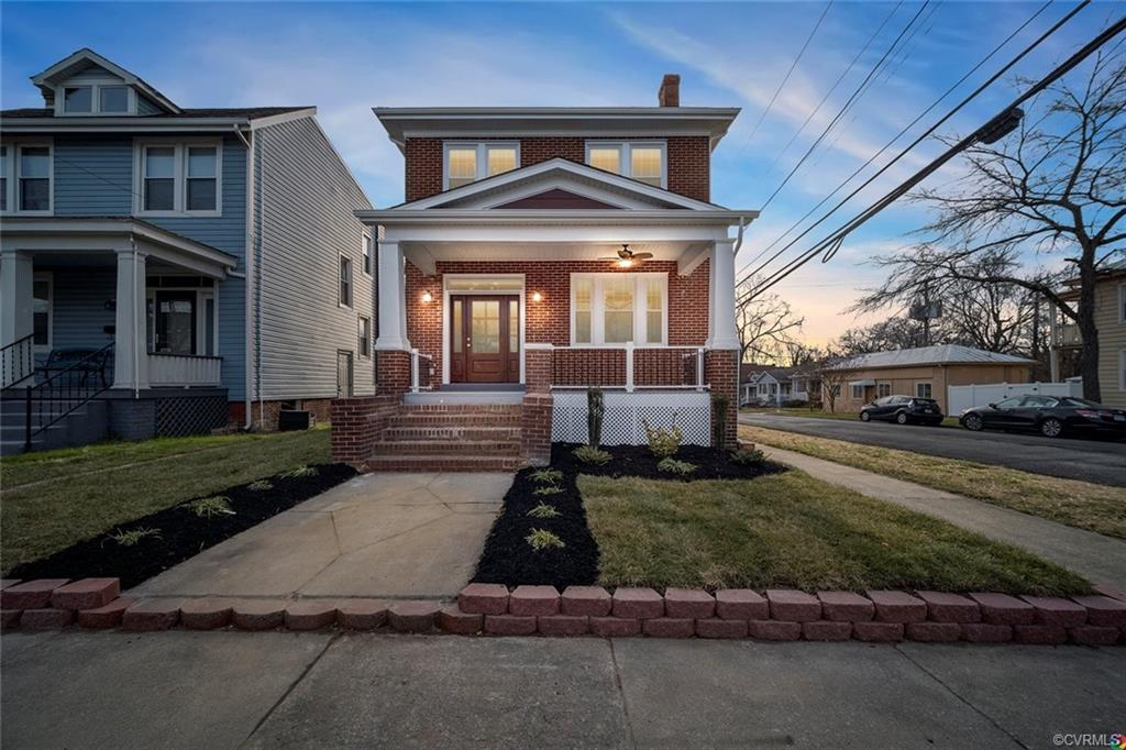 A meticulously fully renovated gem by Xtreme Homes LLC. A rare find with a 3-car detached garage, a finished basement, & alarm system! Perched perfectly on a corner lot in beautiful Church Hill near a quaint park. Inviting and warm with historic touches & modern conveniences. The original brick exterior captures the essence of its time while the 2-story rear addition accentuates its beauty! A semi-open feel with refinished hardwood floors, picture windows, crown molding, custom trim, & recessed lighting. A formal living room with a tastefully restored brick fireplace, a dining room with handcrafted wainscoting, & a gourmet kitchen with gas cooking, white soft-close cabinetry, granite countertops, stainless steel appliances, & glass French doors that lead to the rear deck. Upstairs is an exquisite master oasis with gorgeous waterfall tray ceilings, a large walk-in closet & a phenomenal en suite bath with 2 marble top vanities, a large tiled shower, & a beautiful freestanding soaking tub. A fully finished basement with side entry, rec. room, bedroom, walk-in closet, bathroom, 1 of 2 laundry rooms, & a wet-bar with granite countertops. Details galore! Plus, a 10-year tax abatement!