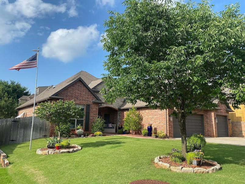 From the brick and stone exterior, to the bright interior of white woodwork and cabinetry, this home will make you want to call it home. It has classy crown moldings, open floor plan, stone fireplace, and tile in the right places. It can be three bedrooms and an office, or four bedrooms.  Tuscan Park is a super-friendly community 1/2 mile from I-35. The kitchen boasts granite counters, stainless appliances, Bosch dishwasher, full pantry, and matching useful center island. There is a spacious formal dining area for those special dinners, and a study with wood floors  and French doors. The luxurious Master Suite is complete with heated tile floor, double granite vanities, tiled shower, and jetted tub. The covered patio will become your favorite spot for coffee and a newspaper—or just lounging. Guests will be welcomed by brick accents on the front walk, a brick front porch, and stone archway. The yard is very low maintenance with the full sprinkler system and small front and back yard.
