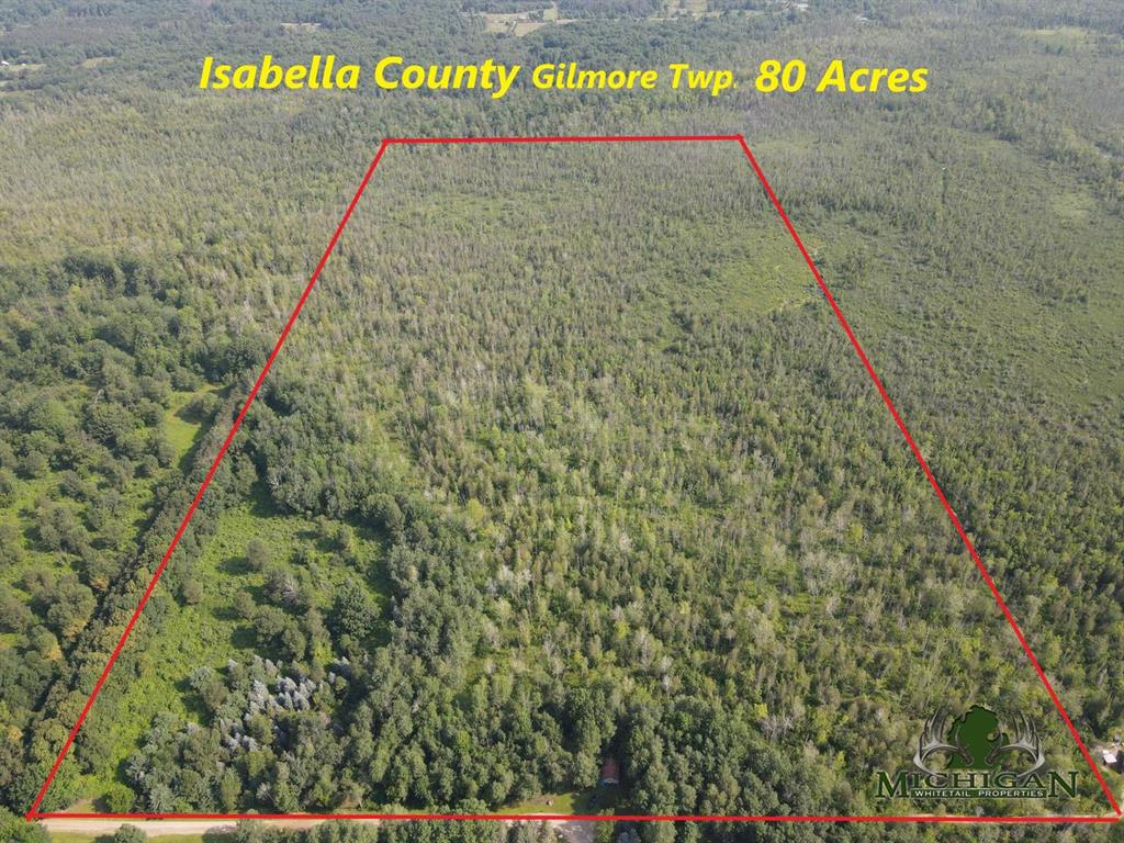 """Isabella County 80 ac!!  This fully wooded parcel is located at the end of a dead end road on the Southern edge of the Dead Man Swamp.  This is a raw piece of land looking for a buyer with a vision.  The small cabin has power but is in need of some TLC and is being sold as is.  Call the listing agent for more information.**Maps contained on our sites are there to simply depict the over all layout or shape of a given property and show what it looks like from an aerial view. These maps are neither a legally recorded map, or any type of a legal survey and should never be used as such. Also """"Acreage"""" amounts are displayed as according to the information we have obtained through local government and are in no way guaranteed or warranted to be exact**, or any type of a legal survey and should never be used as such. Also ''Acreage'' amounts are displayed as according to the information we have obtained through local government and are in no way guaranteed or warranted to be exact**"""