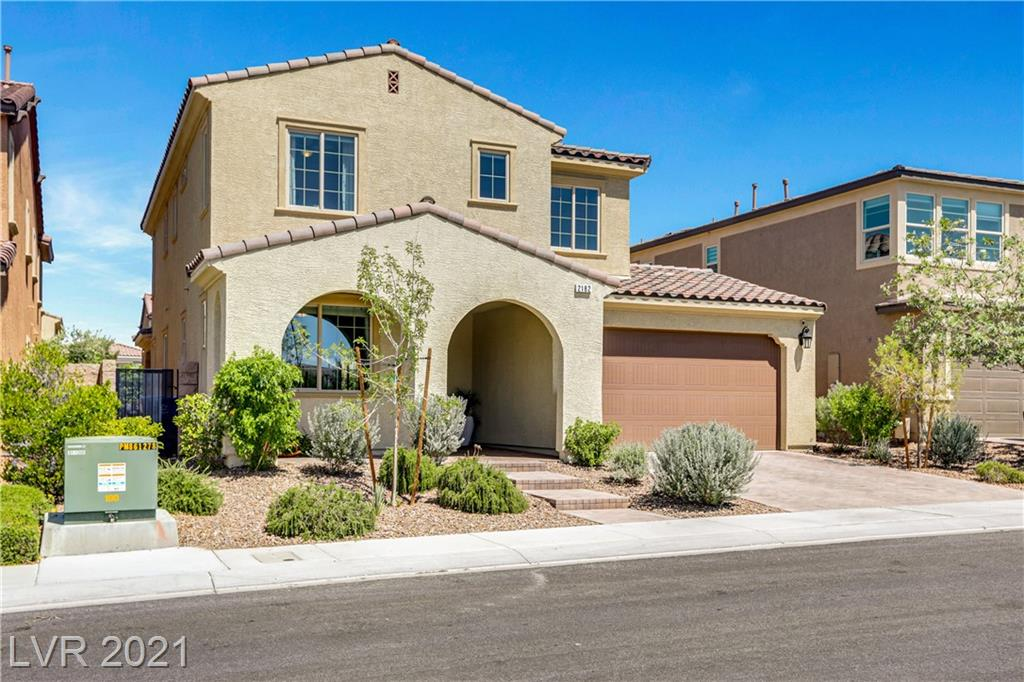 """A rare find """"Dual Master Suite"""" Inspirada Pool Home! 2778 sq.ft. 4BD, 3.5BA + Office + Loft + attached 2-car garage. Offering amazing curb appeal w/paver driveway & entry area, located across the street from Potenza Park, walkways, greenbelt areas & community pool on a quiet/safe parallel frontage road. Interior highlights include wood plank tile flooring downstairs, lower & upper master bedroom suites both w/walk-in closet, large tub & walk-in shower. Glass entry lower office area, modern & upgraded quartz island kitchen w/SS appliances & tile backsplash, large upper loft area & laundry room, custom paint, fixtures, lighting, ceiling fans, barn door & other window treatments throughout. Exterior highlights include a private rear lot w/gorgeous custom pool & wet deck, water features, LED lighting, expanded entertainment deck & turf areas, built-in enclosed patio area w/large open glass slider doors. The entire home is spotless & in perfect move-in ready condition. A must-see property."""