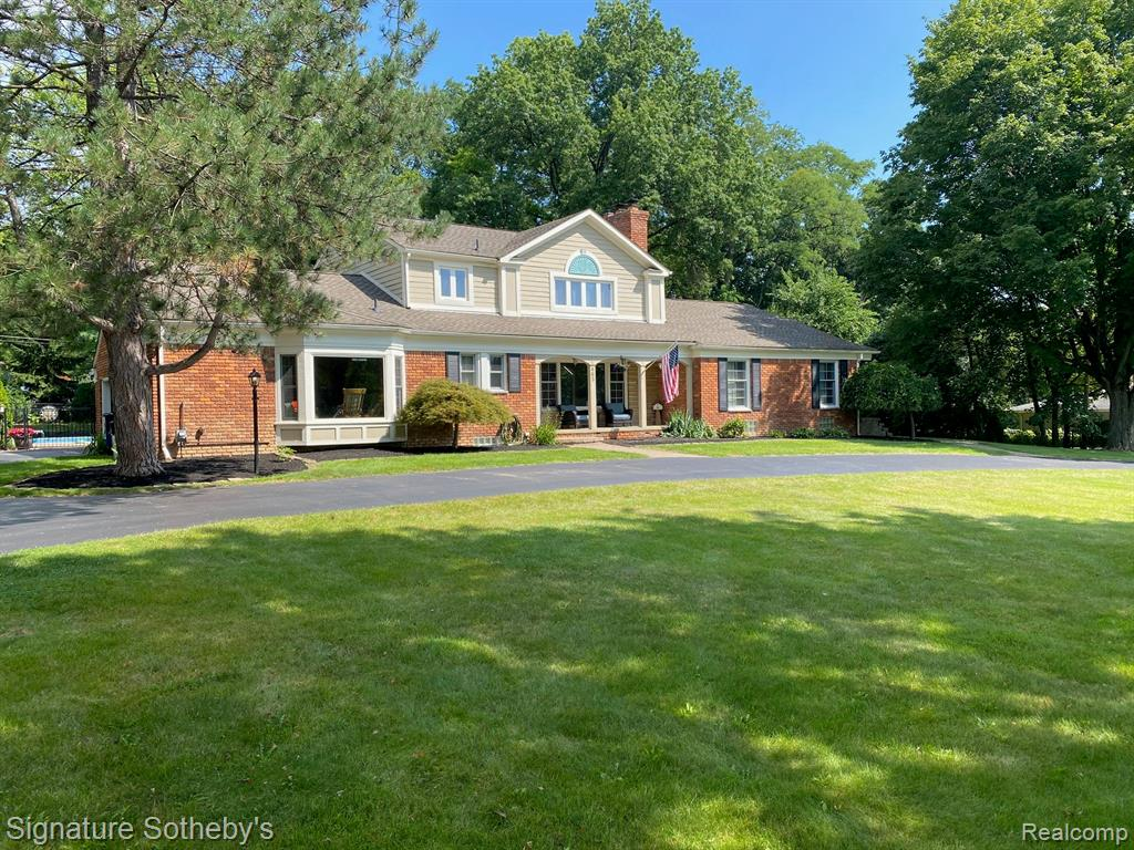 Welcome to this private, serene setting in highly desired Bloomfield location with award-winning Birmingham Schools.  Open floor plan allowing for huge gatherings both indoor and out.  Imagine lounging poolside in your extremely quiet backyard sanctuary.  5 BRs/4.5 Baths, including a first floor master suite with a private entrance that can be used as an in-law suite.  The second bedroom on the main floor can convert to an office, allowing for multiple in-home work spaces.  Open kitchen with SUB ZERO fridge, and other high-end appliances.  Enjoy morning coffee in your spacious breakfast nook.  Mostly hardwood floors throughout.  Finished basement boasting a large entertainment space, along with gym/game room areas.  Over 5,000 sf of finished living space.  You will not find a better value in this coveted location. Don't delay, own it today!