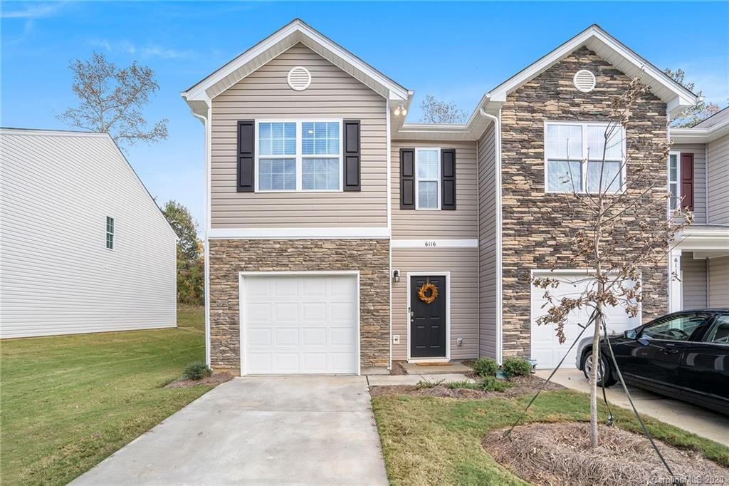 Opportunity knocks at this like-new (5-months), end-unit townhome in a rapidly growing area of Charlotte! Its inviting, open floorplan on the main floor makes this home incredibly comfortable to live in. The kitchen features stainless steel appliances and a large, granite-topped island with matching countertops; perfect for entertaining.  Upstairs, the spacious master bedroom suite is near the convenient laundry space, 2 guest bedrooms, a second full bath, and storage space galore!. Convenient, attached garage opens onto the main floor. Warranties assumable on the townhome, itself, and HVAC system.