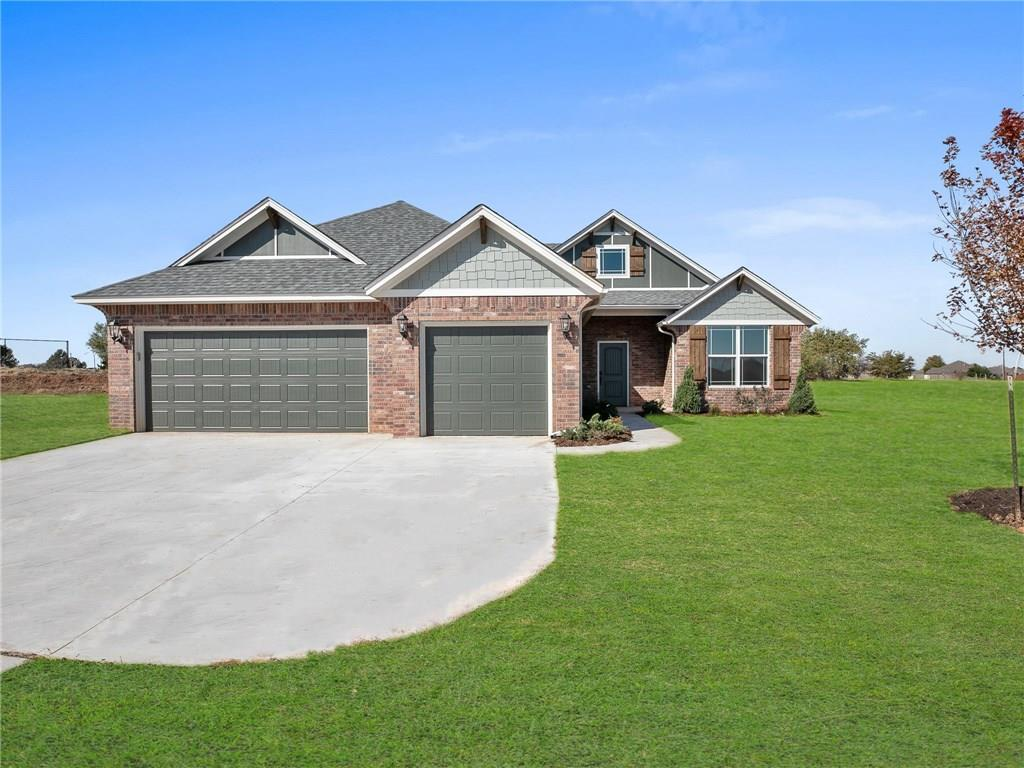 3 bed, 3 bath, plus a study! This home offers a stunning front porch with Craftsman style inspiration. This floorplan has an open concept living room with high ceilings, floor to ceiling windows to back patio, and a view of the designer kitchen with large island. The kitchen has high-quality cabinetry to the ceiling, Craftsman-style wood hood over the stove and farmhouse sink. The open kitchen, dining room and great room provide a great space for entertaining. The master bedroom is secluded to one side of the home, leading to a private master suite. The master bathroom includes a dual-sink vanity, soaker tub, separate shower, private toilet area, and large walk-in closet. One of the most unique features of this home is a private study with a nearby full bathroom. The two secondary bedrooms have their own private hallway and a shared full bathroom. Additional highlights: spacious laundry room, mud room with mud bench, sprinkler system, and 3 car garage.