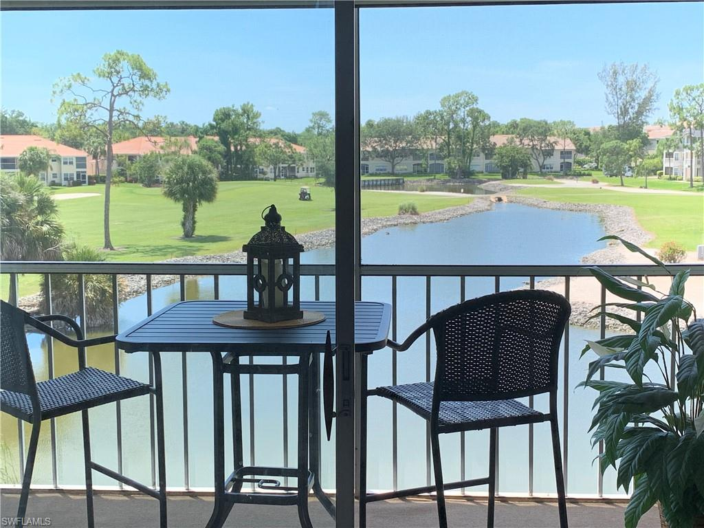 What a great View!! Very gently used Top floor furnished condo. Updated kitchen with Quartz Counter Top, Sub Tile glass Backsplash, Stainless appliances and vinyl floor. Living area includes automatic recliner couch, smart TV, glass dining set with 4 chairs, large desk and room divider. Newer bedroom set including $4000 Mattress and walk in closet. 5 inch base board molding throughout. Lanai with outdoor furniture, automatic shutter, view of the golf course and pond. Enjoy nature with views of birds, turtles, occasional gator and otter. Golf course view in the distance. Newer A/C and H2O. Front Row Parking spot #14 right below the unit. Agent is a Florida Licensed Realtor.