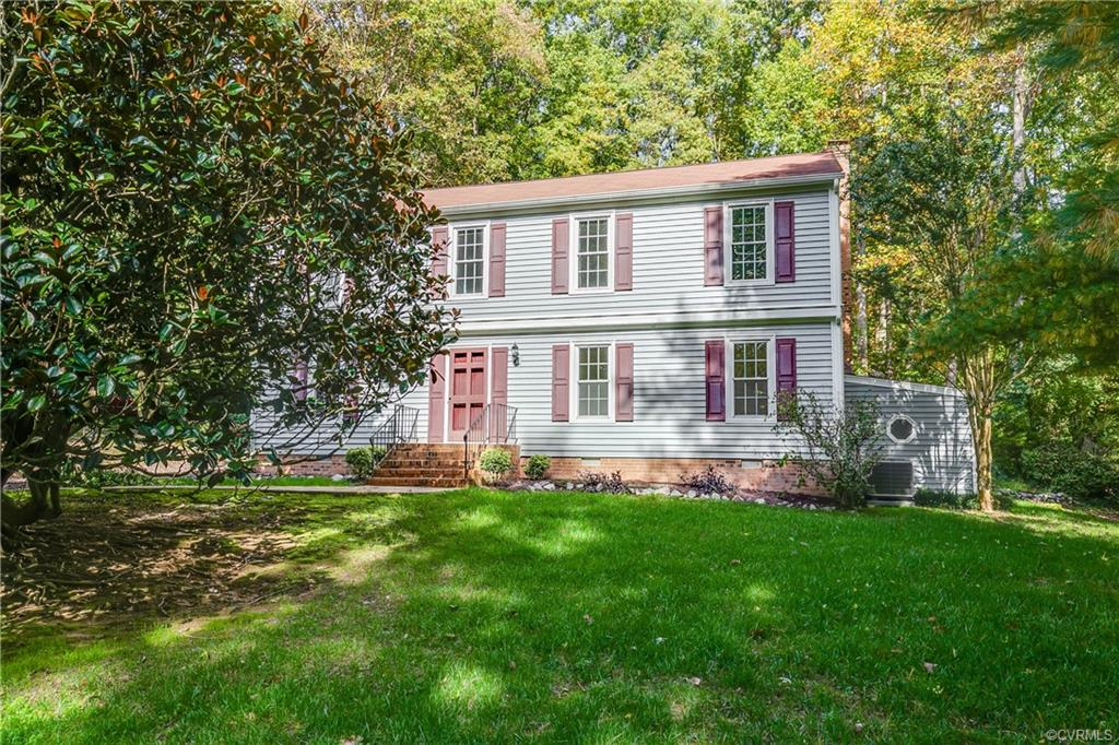"""First offering in 37 years this is a fantastic opportunity to get into Brighton Green. Location is excellent - you can be downtown in 10min, and also shopping, dining, and top Chesterfield County Schools (Including the new Crestwood Elem!) This house sits in a quiet section of BG backing to heavily wooded land for great privacy in the back yard. Many of the """"not fun"""" updates have been taken care of for you in last 10 years - vinyl siding & windows, roof, and HVAC. Inside the colonial floor plan will allow you to spread out and separate. Formal Living & Dining Rooms greet you upon entry. Family room with fireplace and built-in bookshelves. Kitchen provides room for eat-in table, pantry, and plenty of cabinet and counter space. Bright Florida Room with huge picture window is a great bonus space. Laundry and half bath finish first floor. Upstairs find the oversized Owners Suite with 2 closets and ensuite bath w/shower. 3 additional bedrooms with nice closets for storage and windows for light share a full hall bathroom with original avocado green tile in great shape! Pull down attic storage. Multiple closets. Trex rear deck. Attached storage shed. BG Summer Pool memberships available."""