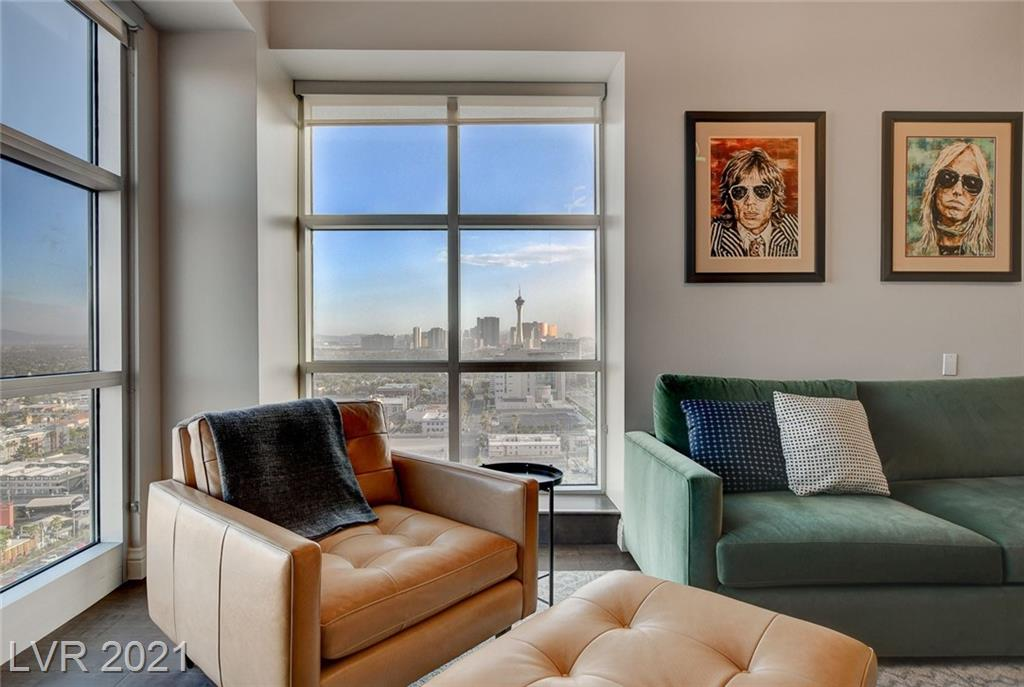 Marvel at the spectacular views from this penthouse corner residence in Fabulous Downtown Las Vegas. The beautifully remodeled 4 bedroom condo features high ceilings, two separate terraces and Strip views. The chef's kitchen is highlighted with stainless steel appliances and a large island.