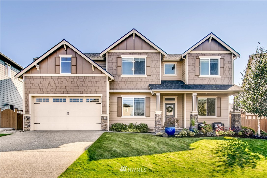 Nothing short of spectacular in this immaculate home at the top of Puyallup Highlands! Hands down one of the best lots with a total outdoor oasis: huge patio with room for mini sport court, soccer field & playspace, play set + privacy! Perfect blend of comfort & covid function in this well polished open layout: 4 HUGE beds + bonus + office + formal living/possible flex homeschool room. All the goodies here in this stunning kitchen w/double refer, wall ovens, massive countertops, eating nook + formal dining. Spectacular Master with natural light gleaming in, some views of the Cascades and Mt Rainier + spa master bath. Idyllic location just 5 mins to Sounder and freeways. Rare opportunity don't miss it!