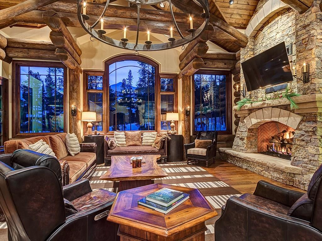 This elegant Shock Hill log home is a one of a kind.  Located at the end of a cul-de-sac surrounded by Nordic trails.  It is steps from the gondola, minutes from Breckenridge and it has fantastic ski area views.  Beautiful woodwork throughout, custom stone work, 6 fireplaces, an elevator, a wine cellar, Viking appliances and a magnificent master suite with a multi-head shower and a copper tub.  An outdoor living area with a fireplace, a hot tub and a siting area to take in the mountain views.