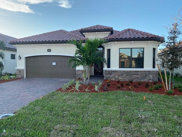 """NEW CONSTRUCTION: Bonita National is the #1 Selling Community in SWFL 3 years in a row. Amenities include Clubhouse with Formal/Casual Dining, Beach Entry Resort Pool, Fitness & Aerobics Centers, Poolside Café Bar & Grill, 8 Tennis courts, 18 hole Championship golf (select homesites), Full Service Spa, social clubs & fitness classes.  The Angelina is a perfect size home with an open concept floorplan and 2 car garage. Cherry cabinets, 20"""" tile set diagonally throughout, upgraded paint, granite countertops, stainless steel appliances, wood shelving in closets, blinds, smart home and hurricane impact windows & doors. Beautiful water views complete with outdoor kitchen, wood ceiling lanai, pool, spa & lanai lights! Social membership included. Full builder warranty.  . Virtual tour and additional pictures are of like kind model & is used for display purposes only. This home is under construction for an estimated completion date of Jan 2021."""