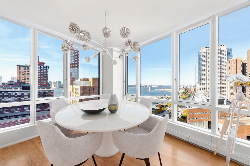 ABUNDANT NATURAL LIGHT HUDSON RIVER & TRIBECA SKYLINE1 Year Lease- Tenant Pays Fee 2 Year Lease- Collect your own FeeWelcome home Tribeca's Premier Luxury Full Service Building. This corner unit spans 1,685 sqft and features a spacious living/dining room, open windowed kitchen, and floor-to-ceiling windows throughout that allow abundant natural light to flow in.*Enjoy beautiful sunsets while cooking in the state-of-the-art kitchen, complete with a Viking Stove, Subzero Refrigerator, and Bosch Dishwasher. Open layout features formal entry foyer with large Walk in Closet. Kitchen equipped with Viking Stove and Stovetop, Subzero Refrigerator, Bosch Dishwasher.The corner master bedroom showcases amazing Hudson River and Eastern Skyline views and is spacious enough to accommodate a king size bed , seating area to enjoy the views. It also features two closets and an en-suite white marble and mosaic spa-like bath with an oversized deep soaking tub, a separate glass shower enclosure, and a double sink vanity.The second and third bedrooms also have amazing unobstructed TriBeCa Eastern Skyline views and are perfect as a guest room with an en-suite marble & mosaic bathroom, a nursery, or home office. The third white marble and mosaic bathroom off the foyer features a deep soaking tub shower and a single marble vanity. *200 Chambers features a doorman, concierge, 24 hour gym, sky-lit indoor pool, resident's lounge, a newly landscaped roof-top terrace, children's playroom, and a waterfall courtyard garden. Convenient access to TriBeCa's acclaimed restaurants & shops including Whole Foods, Barnes & Noble, Bed, Bath & Beyond, Soul Cycle, Shake Shack, Blue Smoke, North End Grill, and The Palm Restaurant. Very close to SoHo, Brooklyn Bridge, South Street Seaport, Washington Market Park, and Nelson A. Rockefeller Park. Convenient access to major subway, bus, path, & ferry transportation.Some photos are virtually staged.