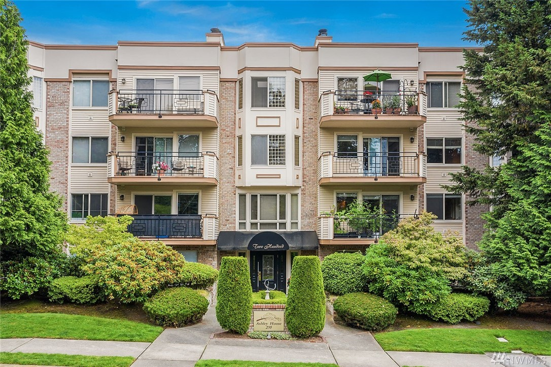 Wow! Penthouse in the heart of Bellevue on a tree-lined street! Transformed by exceptional designer's remodel, this urban, modern home is the perfect place to seat yourself for the future! Private & Quiet. Smart, stylish & modern w/all the comforts you could hope for! CENTRAL AC! Skylights! Cool & bright! Unique, open floor plan w/stunning high quality modern kitchen remodel - very sophisticated. Lovely deck w/peek-a-boo views of Lake Washington. Best of All-The Location! Sell Your Car!!!