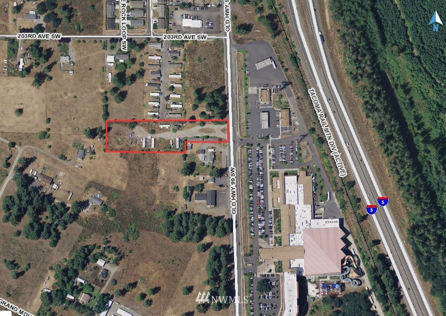 Attention Builders / Developers!  Rare find!  2.2 acres Zoned R4 16/1- high density residential zone that allows up to 16 units per acre. This includes over 100' of frontage on Old Hwy 99 in ever growing Grand Mound- located across the street from The Great Wolf Lodge. Sewer and water at the street & power is on site. Located less than 5 minutes from US Hwy 12 and I-5 access.  This is the site of the old Grand Mound Motel.  Don't miss out on an opportunity like this! *Buyer to verify all information