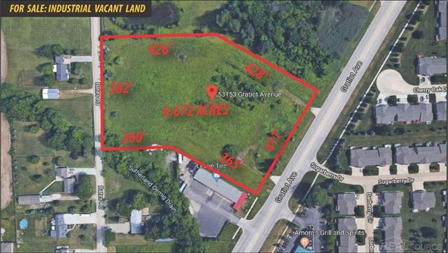 -Over 6.5 Acres of Industrial Vacant Land -2 Curb Cuts Along Gratiot Ave -Duel Frontage  -All Utilities Available  -Land is Mostly Cleared