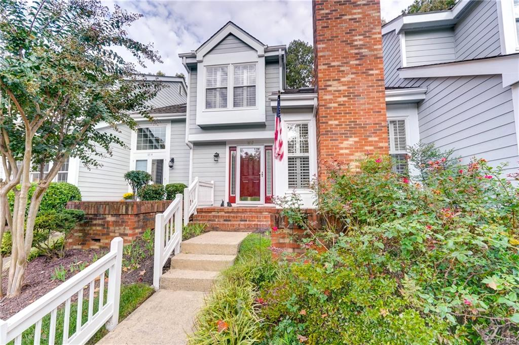 Welcome to comfort & privacy in the Gayton Forest Townhouse Community! So nicely situated in this quiet neighborhood. Features include hardiplank siding, hardwood floors in the Foyer, Den, & open Kitchen. Handsome shutters adorn the windows allowing w/great natural light. The Great Room, w/ recessed lighting, is vaulted & has 3 beautiful windows flanking the brick fireplace. The Foyer has a hall closet & well-placed powder room. The Dining Room can offer formal or casual entertaining.  At the rear of the townhome is the updated Kitchen w/ granite and stainless appliances, & pantry/storage. The Eat-In Area is set with large windows and shutters. The Den is open to the Kitchen & has access to the maintenance free deck.  The open turned staircase leads to the 2nd level with a double door entry in to the spacious Primary Bedroom, a dressing room features a chandelier, sink, vanity, &  large walk-in closet. The full bath has a single sink w/ vanity. BR #2; again large!  Convenient to Gayton Forest Shopping Center, Short Pump, w/easy access to anywhere.  Won't last long so make your appointment now:)