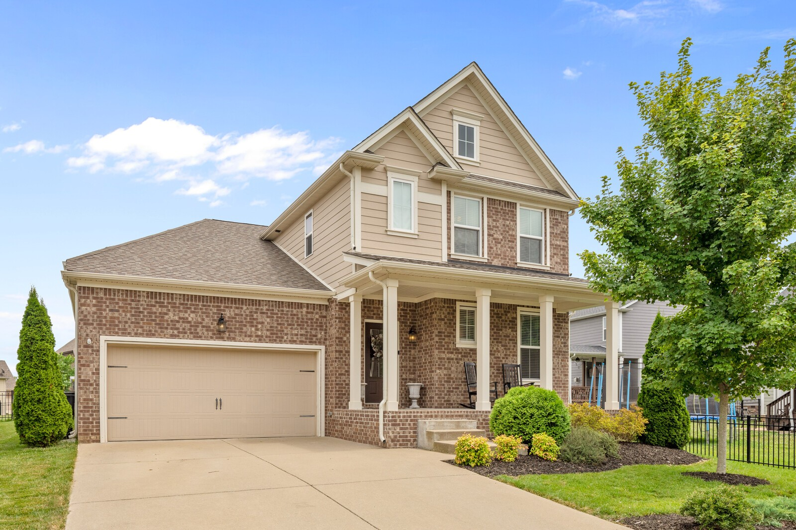 Tucked away on a peaceful cul-de-sac, this beautiful Jones built home in the cherished Canterbury subdivision is move-in ready!  The comfortable floorplan creates a welcoming atmosphere. Chef's kitchen with gas range & oven, large island, ample cabinetry & walk-in pantry. Flex area upstairs can be used as a bonus room or additional sleeping area with the Murphy bed. Backyard oasis with built-in fire pit, a place to relax or entertain.  An easy walk to the neighborhood pool and playground.