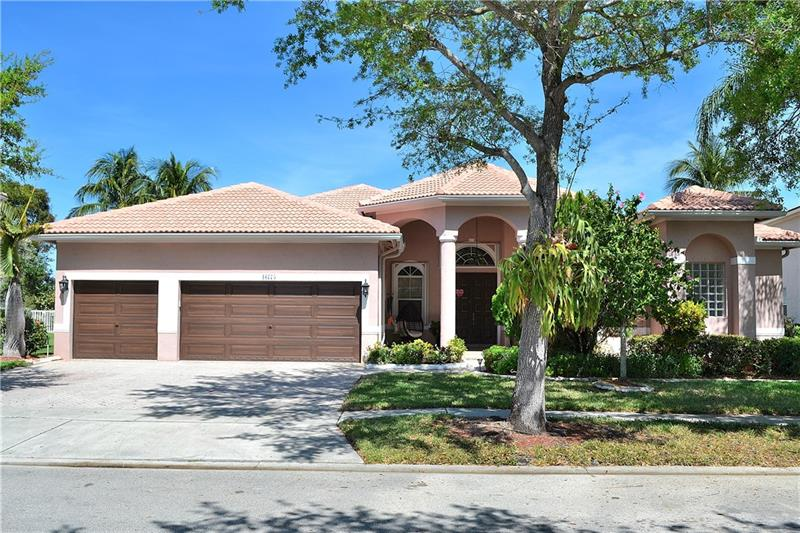 Absolutely Stunning 5/4 Waterfront Estate with pool located in prestigious The Breakers at Pembroke Isles! This turn key home shows like a model and is in impeccable condition. Interior features tile through out living area with formal dining, custom paint & designer fixtures. Kitchen is upgraded with stainless appliances, bar and separate breakfast area. Master offers built ins/his & her bathrooms. Outside features only the best with Spectacular Pool w/spa & Patio area overlooking water view. New Pool heater & electric motorized sunshade. Fenced yard with new landscaping. Accordian shutters and New A/C! Amazing Resort community offers a Grand Clubhouse with gym, tennis, many pools, Guard gated with security patrol, great location and more! 
