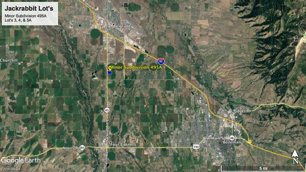 Commercial lot off of Jackrabbit Lane, just north of East Valley Center by the blue silo's. Easy access to I-90, Four Corners, Belgrade, & Bozeman.  Final plat completed and recorded.  READY TO BUILD.