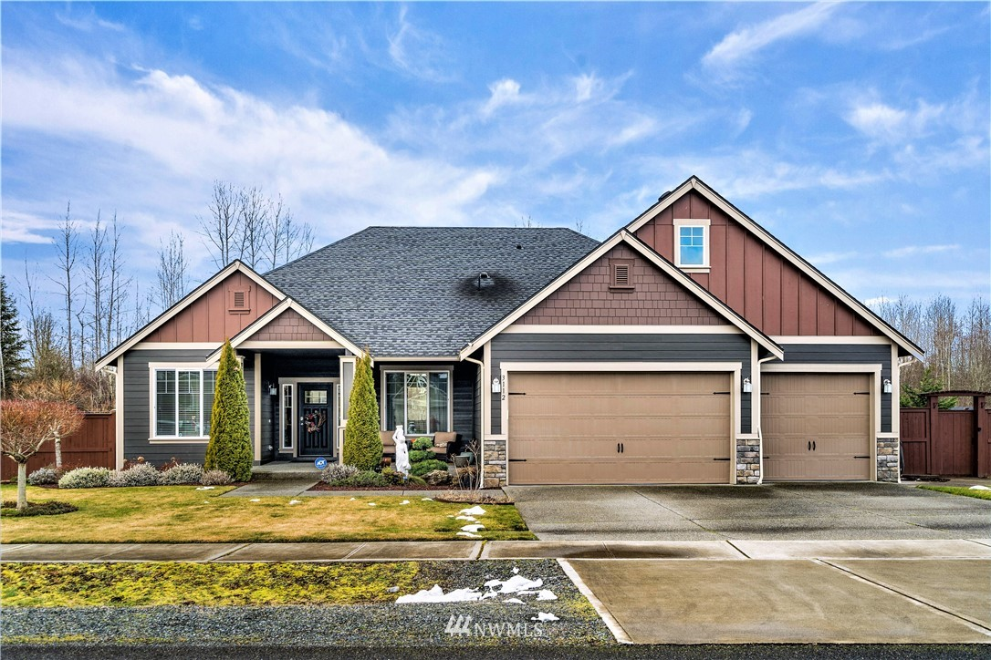 Beautiful & meticulously maintained Rambler on a 1 acre fully fenced lot in the gated and highly desirable Lacamas Valley Estates. Gourmet kitchen, granite counters, SS appliances, dbl oven/gas stove & butlers pantry. Open concept living w/vaulted & coffered ceilings. Master suite to dream of w/5 piece bath & dual WI closets. AC/Heat pump. Very well manicured yard w/ sprinkler system & apple, plum & cherry trees. Custom firepit, outdoor speakers, covered patio & room for your RV. Large 3 car garage w/50amp power, room for toys, tools & vehicles. Outbuilding w/ power & H2O, green house has H2O. So much attention to detail throughout the house & property. 15 min to JBLM East Gate makes this a perfect location, You will love to call this home!
