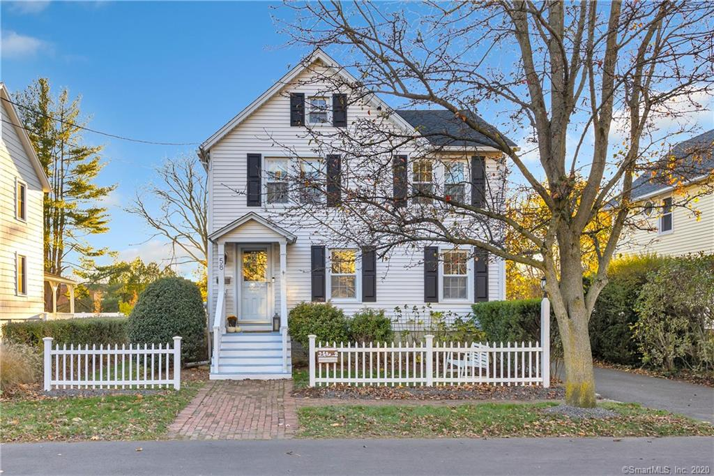 Every now and then a rare opportunity comes along to own a home on one of the most coveted streets in the Fairfield Beach area. This charming Colonial is within easy walking distance to Penfield Beach, downtown Fairfield shops, restaurants, entertainment and the train…with room for a pool! You won't find a better place to call home!  Like a Norman Rockwell picture, the home beckons you in through the welcoming white picket fence.  Step inside the casual chic, beach-inspired Living Room w/crisp shiplapped walls filled w/ light.  Curl up in front of the electric fireplace to read a book or binge watch a television show! Fabulous first floor flow leads from the Living Room to the sunny, updated kitchen with new gas range, stainless steel refrigerator, ship lapped walls and custom storage.   An adjacent Dining Room flooded with light entices family and friends to gather and enjoy.  A mudroom and half bath are tucked discreetly just steps from the kitchen.  Upstairs are 3 picture perfect bedrooms and a gorgeous full bath.  Working from home?  Third floor bonus space adds 483 flexible square feet and is perfect as a home office and/or playroom (in addition to the 1254 sq ft.)  The detached, partially finished one car garage offers potential as a man-cave, playroom or future pool house! New roof, new siding, freshly painted interior, refinished hardwood floors and new bulkhead doors. If a carefree, beach lifestyle is what you crave, live here and enjoy the best of Fairfield beach!