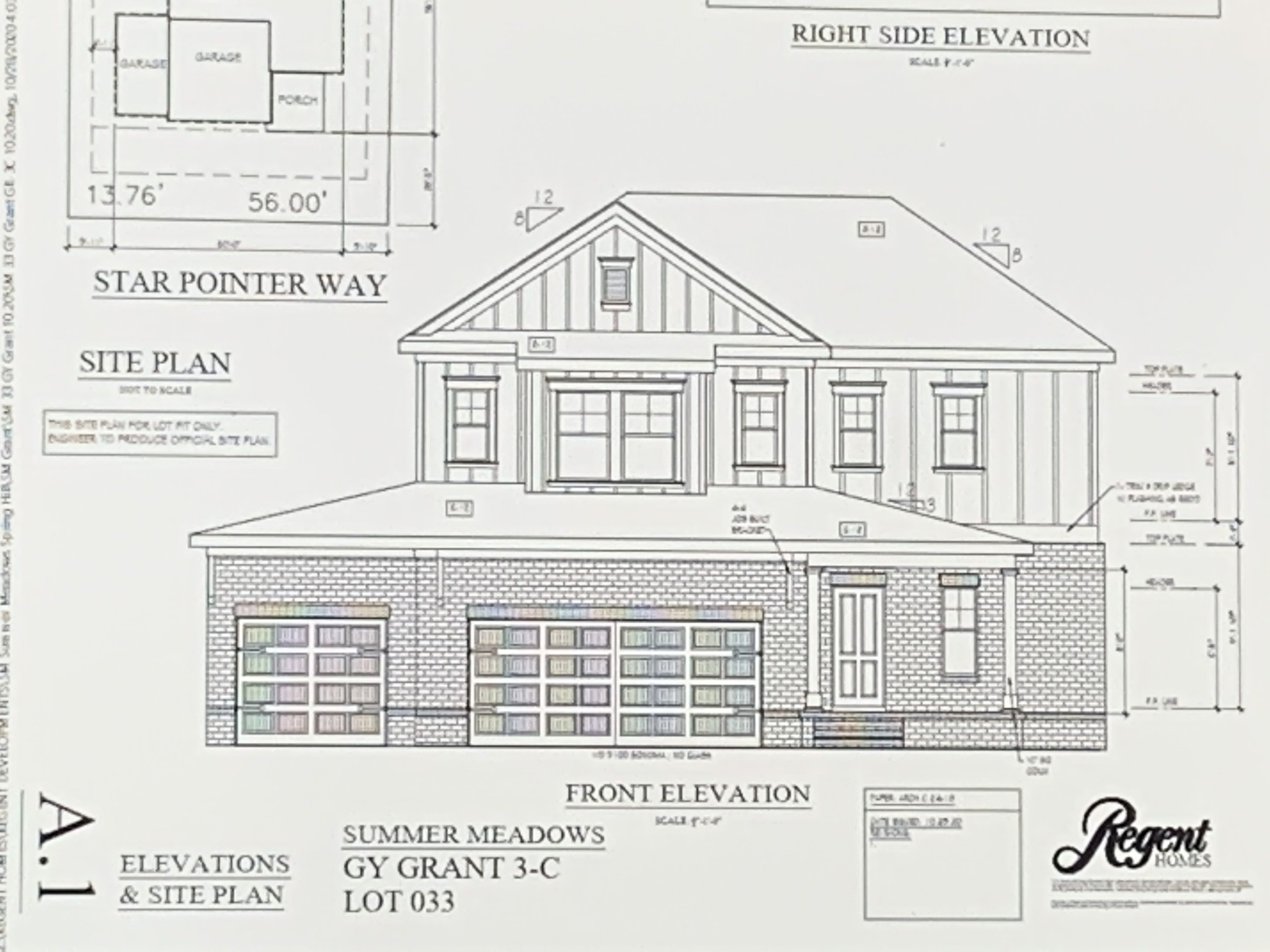 The GRANT will be READY July of 2021 !!! 2481 s/f  3 Car  Garage 4 Bedrooms, 3.5 Baths Master Suite 1st Floor (His & Hers Walk-in Closets) Three bedrooms up with Large Bonus Room Loft. Bed 2 has dedicated Bathroom. Huge Kitchen Island open to Dining Room. This is a Fabulous House with Loads of room and Yes,,, 3 Car Garage,,,,