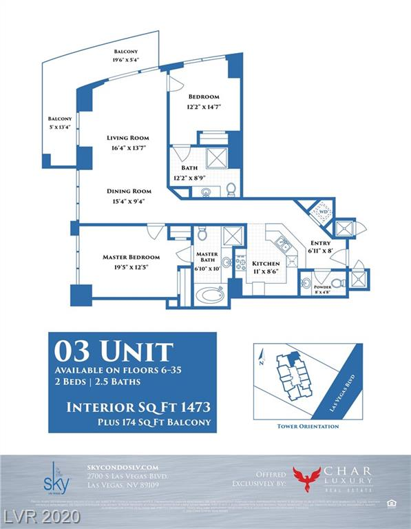 Corner 2 bed 2.5 bath unit located on the 28th floor of Sky Las Vegas. Phenomenal views to the North & West.