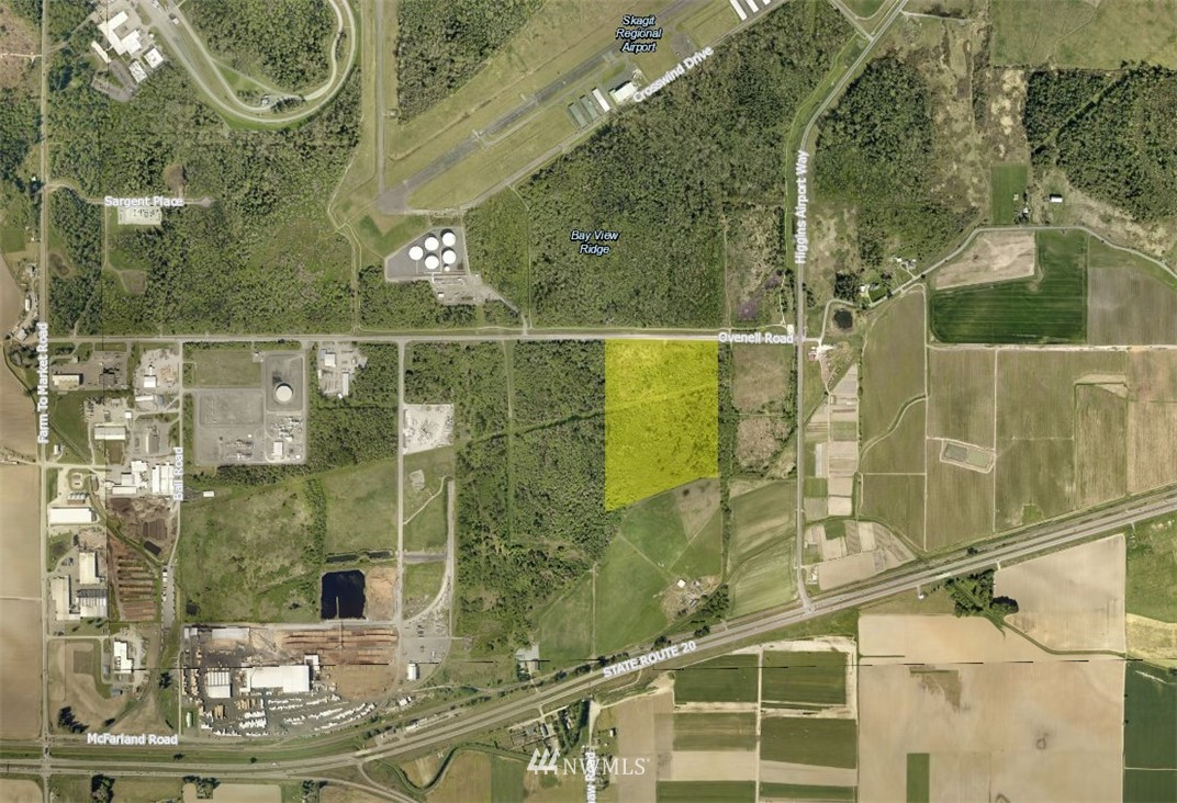 """39 Acres Light-Industrial zoned land near the Skagit Airport. Easily accessible to Hwy 20, w close proximity to I-5. Topography is level/gentle slope.  Property is located within the Bayview Ridge UGA with all utilities adjacent/nearby. The Bayview Ridge Subarea is a 3,586-acre """"non-municipal urban growth area"""" about a mile west of the City of Burlington. The Bayview Ridge Subarea community presently is characterized as a mix of industrial and business uses, airport and aviation-related uses, and a variety of residential uses. First adopted in 2006, the Subarea Plan was updated in November 2014 to rezone 173 acres of undeveloped property that is served by sewer for light industrial business-park-style development."""