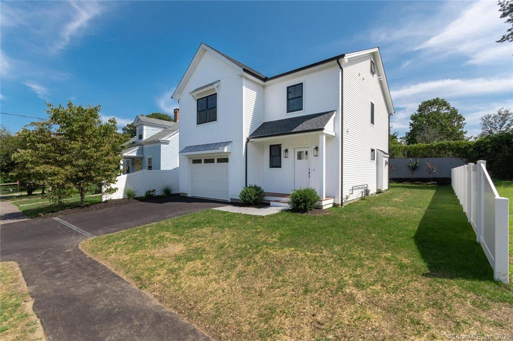 """MODERN FARMHOUSE, This one 'Knocks it out of the Park'! It's a Home Run!  New Construction in University Area near Town and 2 Trains. 9/10 mile to Fairfield Metro Train, 1/2 mi to Whole Foods & Gould Manor Park. 3,143 sq ft. 9' ceilings. Aside from a quiet neighborhood, as you enter your Front Porch, this new home features an open floor plan, Kitchen with Shaker style cabinets, 7' Waterfall Quartz Island, Viking Appliances. Open to a sunny Dining Area and Great Room with white Ship lap and Black Quartz surround Gas Fireplace.  Sliders out to the Patio. Enter from a 1-1/2 Car Garage to the Mudroom & Powder Room with floating vanity, complete the 1st floor. Master Bedroom has an enormous 6.5' x 12' walk-in closet, (all Closets outfitted) Elegant Master Bath with Pedestal Tub and 3/8"""" thick Frameless Glass Shower, floating vanity and 24"""" white designer porcelain tiles. The 2nd floor has 4 Bedrooms, Guest bedroom with vaulted ceiling, a Laundry Room with Sliding Barn Door and Full Hall Bath w/double sinks & oversized tub. Floating Vanities, Designer Tiles, Extensive custom shaker style and ship lap Millwork, throughout. 507+ sq ft Finished Lower Level  Playroom w/8' ceilings & 3rd Full Bath. Anderson 400 series energy efficient windows. Exterior has white copper roofing over windows. New White Vinyl fence. Minutes to everything Fairfield has to offer: Quaint Town Center, many restaurants, chic boutiques, shopping and Beaches. Walk to Gould Manor Park."""