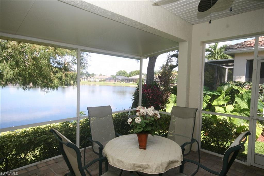 This meticulously maintained 3 bedroom, 2 bath attached Villa with a large eat in kitchen, wooden cabinetry, oversize lanai with gorgeous lake views and an oversize two car garage is ready for a new owner.  (2020) Digital Surge Protection for A/C Compressor; (2019) Re-screen Lanai with No See Um Mesh; (2018) Air Conditioner, Phenomenal Air Cold Plasma Generator, Ultraviolet Light Treatment System and Hurricane Shutters; (2017) Water Heater; (2016-2020) Ceramic Tile throughout, Kohler Toilets, New Mixing Valves in the Showers, New Baseboards and Trim and replaced Electric Panel for 200 AMP Service.  Pride of Ownership is seen throughout the Villa. This Villa is offered furnished and move-in ready.  A must see.  Come live the Southwest Florida lifestyle.  Colony Lakes is a great community just minutes from the beautiful beaches of Fort Myers, Sanibel, and Captiva, and 25 minutes from the airport. Low HOA fees include lawn maintenance, irrigation, clubhouse, heated pool with a stunning view of the lake, recently renovated fitness center children's play area and a community room.  Colony Lakes is the perfect location to experience all that SW Florida has to offer.