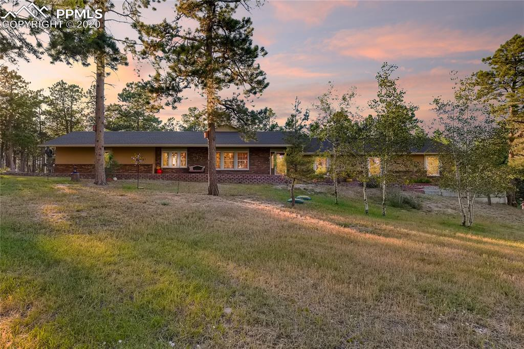 Welcome to Black Forest at its finest.  Located at the end of a culdesac, this 5.06 acres of beautifully maintained and mitigated land with old growth, mature ponderosa pine features a custom ranch style home remodeled from top to bottom. Built in 1979 with 1995 additions of a 20x40 great room & the 2001-2 additions of master bedroom & bath, this home shows like a model. 3 bedrooms, dedicated office, separate formal dining (or possible rec room), family room, an additional space w/coffee bar & a lay out that will facilitate another dining area plus a hearth sitting area as you come in. There is an oversized 2.5 car garage for a workshop option. Enter into this home & you sense the pride of ownership. Luxury vinyl plank throughout living areas along w/ vaulted ceilings*private office/den off of the formal dining*Cherry cabinetry, birch stained doors, solid slab granite*upgraded stainless steel appliances & wood like tile top out the new kitchen. Quality upgrades to include luxury vinyl plank*brand new roof*new garage door, 2 furnaces (2002/2019), 2020 hot water heater*attic fan for warmer days. This 2800+ sf rancher checks all the boxes and outside is completely fenced with electric gate for privacy, landscaped front and back with beautiful, custom, aggregate concrete work and composite decking with three, separate outside entertaining areas and complete with retaining walls, and astroturf. Other amenities include 2 storage sheds, master retreat with sitting area plus a beautiful, gas, stone fireplace with walkout to patio wired for hot tub, animal friendly with fenced back yard plus an additional yard off of garage.  Zoned for horses. Award winning District 20 schools, close to shopping, elementary schools, hospitals, & Black Forest Section 16 walking/riding park & Pineries Open Space for miles of walking, riding, & biking. Nothing to do here but to come & enjoy this beautiful home & property along with the wildlife.