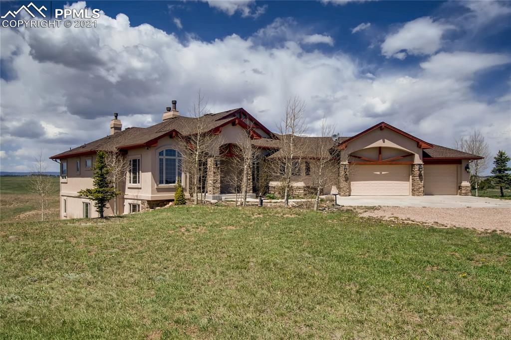 Welcome to a gorgeous, Black Forest custom ranch on 17.79 acres w/ easy access to Denver & the Springs. Located across from Flying Horse North, this hard to find, large, (already subdivided) parcel features beautiful Pikes Peak & Front Range views w/easterly views of the Forest & rolling terrain.  Build  2nd home or enjoy the acreage & have  investment for later.  Five bedrooms, dedicated, main level office & five baths.  Formals plus main level sitting room.  One owner home features amazing attention to detail throughout.