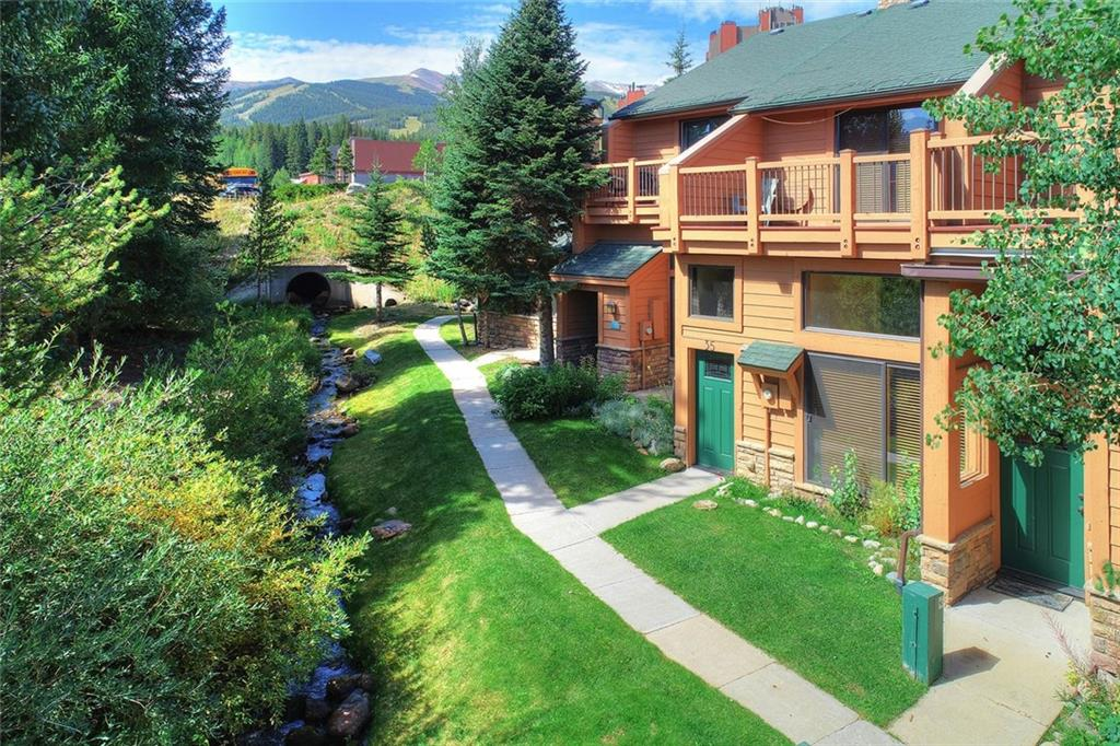 On the Ski Run, & Stream, with the Quicksilver chair lift across the run, Stunning location. Easy access to pool and spa's at the Upper Blue Village Pool, Open floor plan with Large bedrooms each with there own bath, Heated one car garage. This is the Best Townhome location in Breckenridge. Updated appliances and cabinets, Washer and dryer in the unit and extra storage behind the garage. This is a front line on the ski run unit. Town is less than a block away. You can only dream of this location