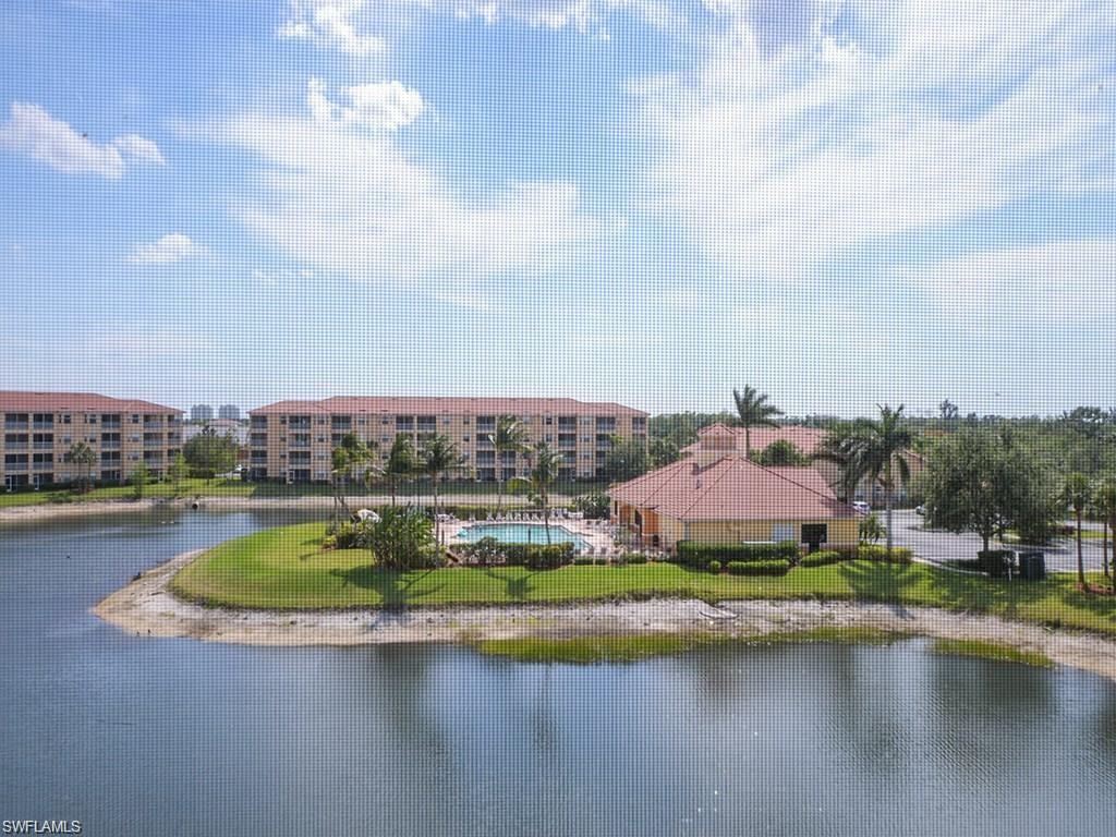 Stunning water and pool view from this top floor unit. Extremely well maintained condo with NO Carpeting !! A/C only 3 yrs old, New dishwasher and Garbage disposal.  Open floor plan with split bedrooms. Bright unit with plenty of natural light and the western exposure supplies amazing sunset views ! Hurricane impact sliding doors and windows. Showings only available after 4PM daily. tenants moving out October 31st. please excuse boxes.   This is a Great investment opportunity. Perfect central location between Naples and and Fort Myers. Easy access to shopping, dining and Florida Gulf Coast University.