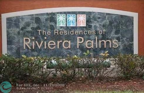 RIVIERA PALMS IS A GATED COMMUNITY WITH AMENITIES INCLUDING A CLUBHOUSE, FITNESS CENTER, POOL, BASKETBALL COURT. IT IS A GATED COMMUNITY THAT IS WALKING DISTANCE TO THE PROMENADE SHOPPING CENTER, CLOSE TO ALL MAJOR HIGHWAYS, RESTAURANTS, AND IS IN THE HIGHLY RATED COCONUT CREEK SCHOOL DISTRICT. THIS 3/2 IS LOCATED ON THE FIRST FLOOR, ALL TILED THROUGHOUT, WASHER/DRYER IN APT, PATIO. GREAT INVESTOR PROPERTY OR FOR OWNER OCCUPIED. TENANT IS PRESENTLY ON A MONTH TO MONTH LEASE.