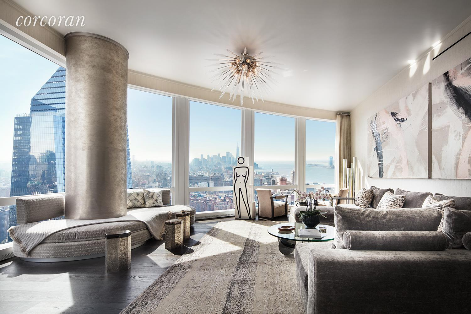 """LIVE WHERE IT ALL COMES TOGETHER  35 Hudson Yards, the tallest residential building at Hudson Yards, was designed by David Childs/SOM featuring a beautiful facade of Bavarian limestone, while the residences- which start on the 53rd floor- feature interiors by AD100 designer Tony Ingrao. Residents will have access to the ultimate lifestyle including services and benefits unique to Hudson Yards. Just an elevator ride away, the building will feature a flagship Equinox Club® with indoor and outdoor swimming pools, SoulCycle ®, Equinox Spa® and the first of its kind Equinox Hotel®. Three on-premises restaurants will offer incredible cuisine and in-residence dining. In addition, residents will have a full suite of private amenities, including a residents-only fitness center, playroom, business center and board rooms, lounge, game room, dining room, and grand terrace with catering services overlooking the Hudson River.  EXPERIENCE SPECTACULAR VIEWS OF THE HUDSON RIVER FROM THIS GENEROUS CORNER THREE BEDROOM HOME. This expertly planned split three bedroom residence boasts 10'10"""" ceilings, lavish satin finish wide plank French oak floors, and stunning views of the Hudson River from the corner Great Room. The windowed eat-in kitchen has been outfitted with luxurious Smallbone of Devizes cabinetry with opal white marble counters and backsplash. Full suite of Gaggenau appliances, inclusive of a wine fridge and coffee maker, truly make this kitchen extraordinary. The master bedroom boasts two large walk-in closets and a luxurious windowed master bathroom which is wrapped in stunning iceberg quartzite, complete with stunning double vanity with Kinon panels, and full depth soaking tub. The second and third bedrooms are both equipped with en-suite baths. The utility room with side-by-side Washer/Dryer, and handsome onyx- clad Powder Room, are both conveniently located off the main hallway. No detail was overlooked in this truly exquisite home.  Located on a very special site ringed"""