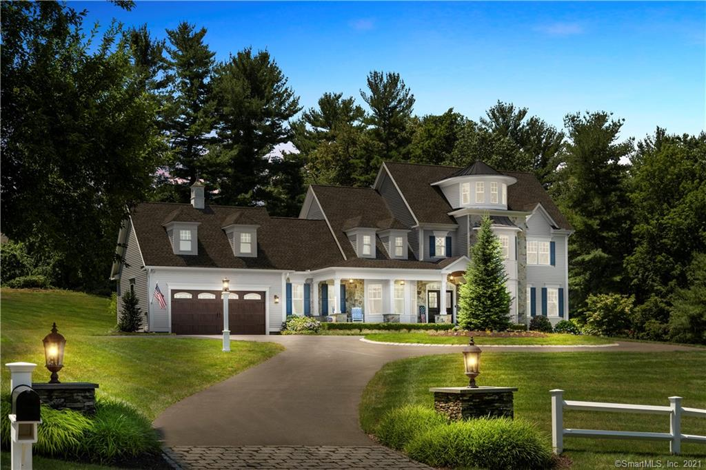 """If you are in the market for a truly special home, this should be the one! Only 4 Years Old -( built 2016-2017)An incredible home found on the border of Avon and Simsbury. Simsbury School System. Simsbury is ranked by Money Magazine as one of the Best Places to Live! Walk in and feel the warmth of the decor. 4 bedrooms, 3 1/2 baths home that sits on 2 beautifully manicured acres. Underground sprinkler system, French Door walkout basement. Basement is ready to be finished- plumbed for full bath. 2 Fireplaces (one gas and one wood-burning) one in the family room and one in the office. A firepit ..equipped with underground venting that leads the smoke to the woods but keeps the ambiance of the lit firepit. The firepit sits high up on the property in the backyard with amazing views of the Heublein Tower. Master suite is on the first level - heated floors in the master bath area. His and hers custom walk-in closets. There is a 2nd bedroom also on the first level w/full bath. There are two more bedrooms and bath on the 2nd level. There is an unusual feature at the top of the home - a turret up a winding staircase where you can sit, relax and enjoy the views of the Hublein Tower ( which you can see from all of the front windows but this particular view is incredible). You will not find this view anywhere else. The kitchen is truly a chef's kitchen equipped with a 5 burner gas stove, 2 dishwashers, a built-in wine fridge, double wall oven, instant hot water, a spaghetti pot faucet, a microwave built into the""""grand"""" island with a pull-out warming drawer. The garage has a pull-down ladder that brings you to the attic. The attic is roughed with electricity and ready to be finished (maybe as an apartment?). There is a whole house Generac generator. Beautiful trex deck on the front covered porch where you can sit and enjoy the views. Go out to the back of the family room (all railings have just been refinished) where there is a trex deck and a retractable awning, as well.  This """