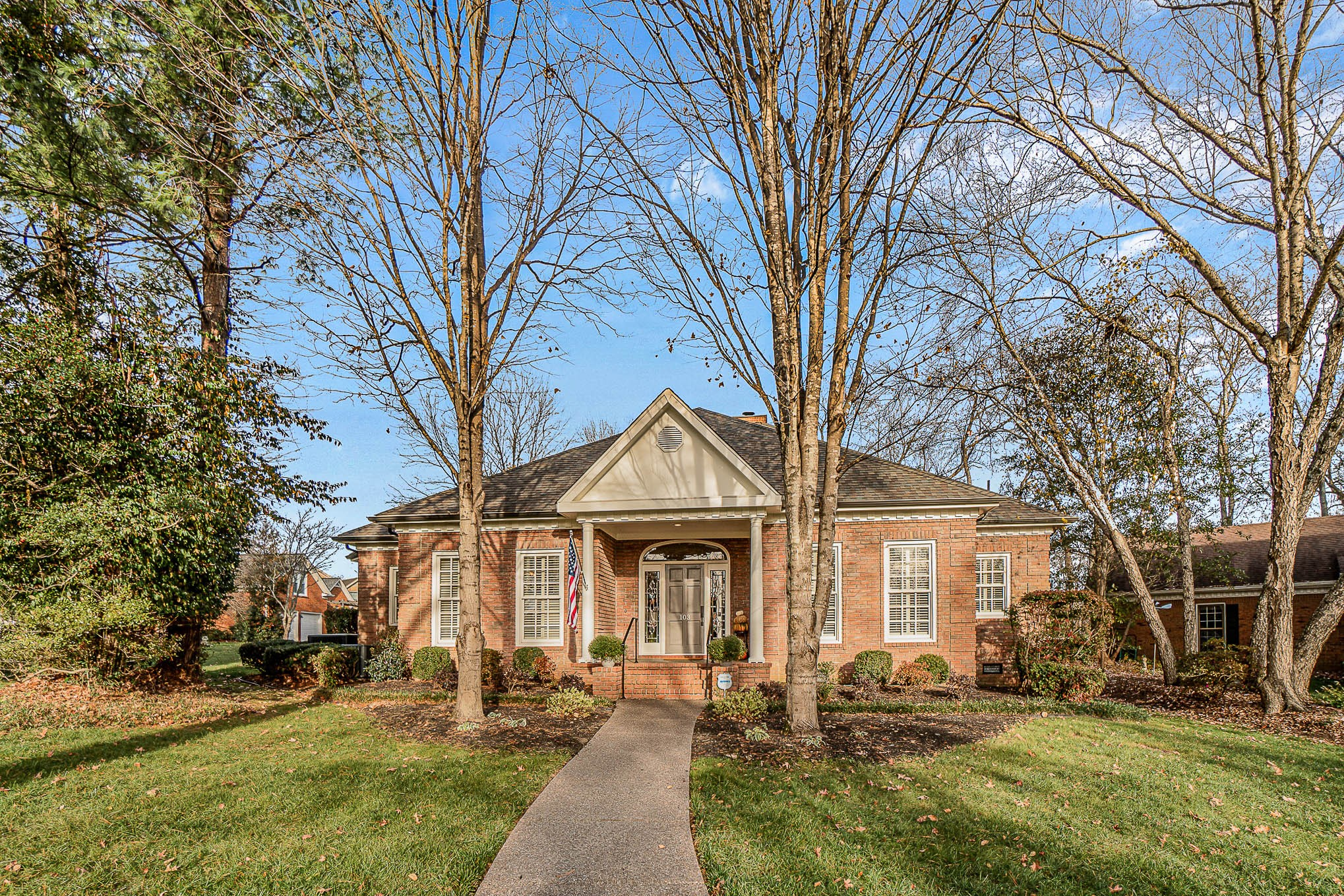 FABULOUS, updated home in one of Franklin's most desirable neighborhoods~Main level master & guest bedrooms~All bathrooms gutted/updated~2 spacious secondary bedrooms on second level (1 currently used as office/rec room)~Great storage~New gas water heater~Anderson windows~Plantation shutters on most windows~HVACs replaced 7 & 8 yrs ago~Roof replaced 7 yrs ago~Exterior recently painted~Rear-entry garage w/new insulated door~Covered rear porch (17'x10')~Lovely, private patio~Adjoins farm property