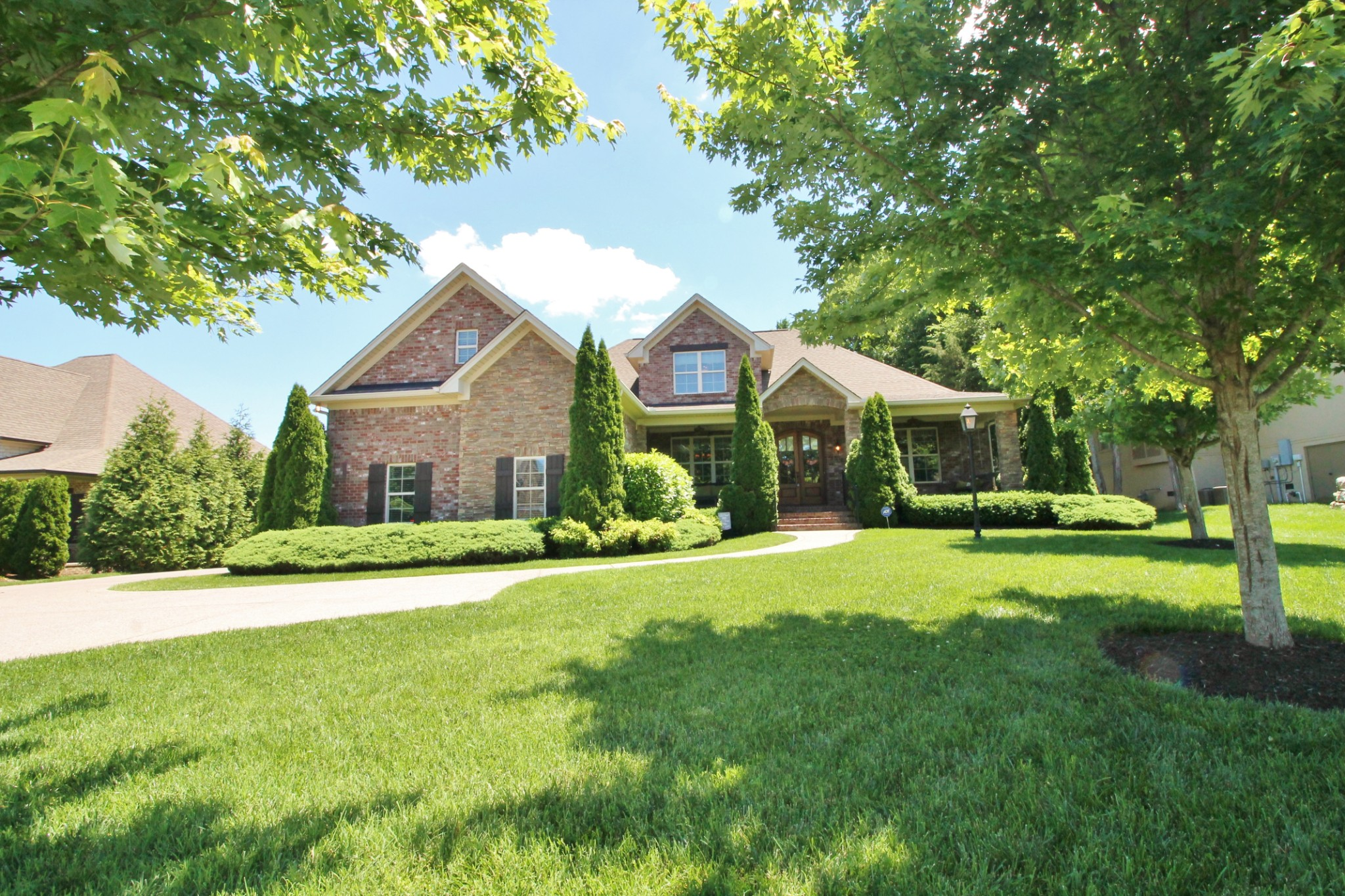 Sunset Park!  With a pool!  Private fenced back yard with stunning patio, fireplace and grill area! Screen in Porch! Huge double sided front porch for these long evenings! Hardwoods, tile, high end appliances, granite counters everywhere! Coffered Ceilings in dining, gas fireplace and stove! Absolutely spotless home! So many features to mention! Downstairs master suite! See it soon!