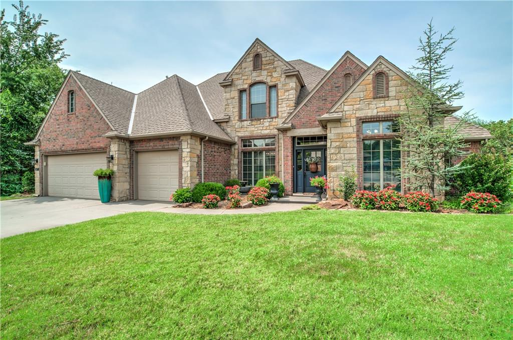 OPEN HOUSE SUN 9/19 2-4pm. Back on the market.  Showings to begin Friday 9/17. Homes like this one don't come by often. Enjoy your own private oasis in the middle of Edmond with wooded greenbelt lake view, huge pergola covered deck and outdoor fireplace. Former Parade of Homes model home with all the extra upgrades and amenities. Tons of windows all facing this scenic backyard.  Low maintenance yard with plenty of outdoor entertainment space.  Impeccably maintained home with 3 bedrooms + study + formal living + bonus (could be 4th bedroom) + secret play space.  Flexible floorplan with open spaces and cozy spaces.   Vaulted ceiling in the living room with stone fireplace. Extra tall ceilings and tons of natural light throughout the home. Large storm shelter in 3 car garage.  Walk to the community park and pool.  Great location with easy access anywhere in Edmond - North of all the traffic.  Only 8 mins to I-35.