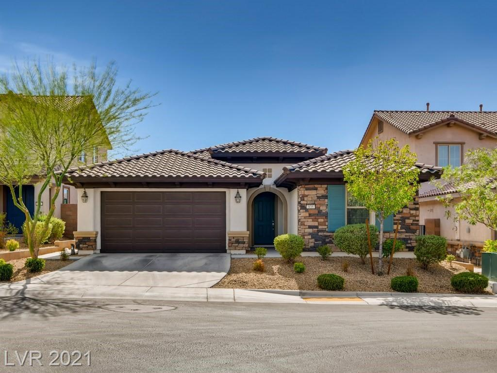"""BUILT in 2016 this single story Lennar home located  in the gated Community of Tuscany! Features include a gourmet kitchen, oversized island with luxurious  granite 42"""" raised panel expresso maple cabinets, blinds, all kitchen appliances, under mount lighting.  Walk in shower with separate tub, double sinks and toilet area in the primary bathroom.  Laundry room has storage cabinets and a window. Home is equipped with  pest control system, B B Q stub, USB outlets at kitchen and Primary bedroom Covered patio, front yard landscaping! Back yard is a blank slate with covered patios and rock landscaping ready for your dream backyard!"""