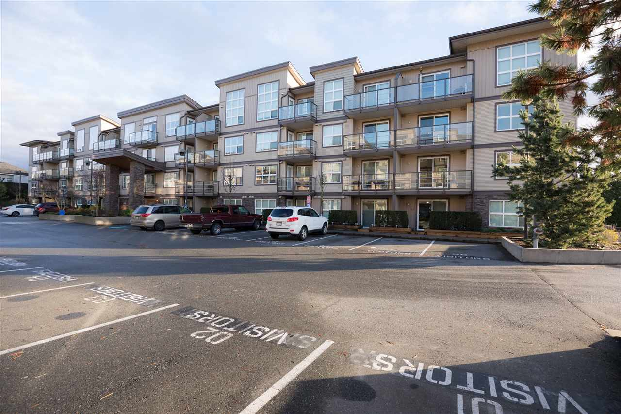 INVESTORS and First Time Buyers this is perfect home for you! Located in desirable West Abbotsford this 2009 Built - 1,043 Sq Ft Condo boasts 2 Bedrooms, 2 Bathrooms and also a full sized Den (could be used as a 3rd Bedroom). Amazing floor plan consisting of an open Living Room ideal for entertaining and a well designed Kitchen with plenty of cabinetry, granite countertops, and an oversized island. Located on the private side of the building with stunning mountain views from your balcony this unit is freshly painted and offers spacious bedrooms, insuite laundry, a beautiful fireplace mantle , 2 UG parking spots and also a storage locker. 2 cats or one small dog + RENTALS allowed. Great location close to all levels of schooling ,High Street Mall & the Hwy. Quick Completion Possible!