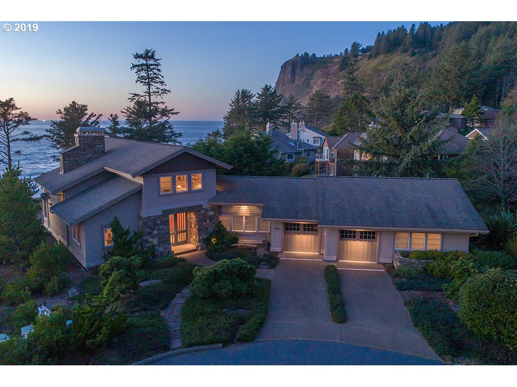 Oceanfront home at Otter Rock on the Central OR Coast. Four bdrms inclu. guest suite on main, 3,781 sq ft with deluxe finishes. Gorgeous ocean views from bluff with extensive walking/hiking trails. Artist studio with half bth & heated floors. Patio/deck spanning back of home. Huge great room space w/ gourmet kitchen, dining, two sitting areas w/ fireplace. Gated community 2 hrs to Portland, near Otter Crest resort and Devils' Punchbowl.