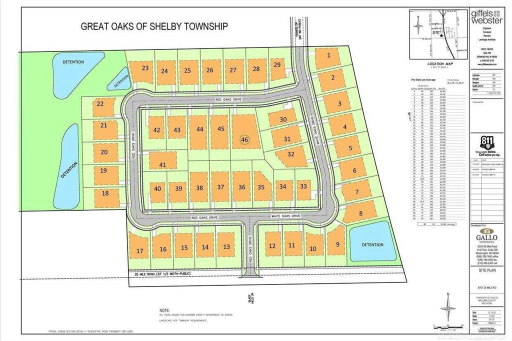 ATTENTION BUILDERS -- 46 SITE PLAN APPROVED, Single Family Lots - For Sale as one (1) package/transaction. Located in Shelby Township on north side of 25 Mile Rd. just east of Van Dyke Ave. Land being sold, site plan approved, where is and as is condition. Close to shopping and Van Dyke Expressway. 46 site plan approved, single family lots. All utilities to the site.